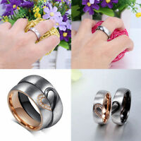 NEW Couple Rings Forever Love Heart Brushed Titanium Steel Wedding Promise Band