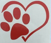Color & Size Choice* Puppy Love Heart Dog Cat Paw Vinyl Decal Sticker Car Window