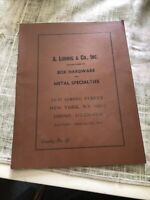 Vintage Box Hardware And Metal Specialties Catalog No.22 by A. Ludwig & Co.,NY