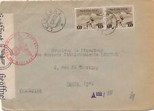Lettre Norvège Leirsund 15x2 Ore Paris France Cover Brief Norway 1942 Censure