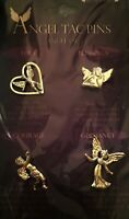 ANGEL TAC LAPEL PIN SET LOT OF 4 SMALL GUARDIAN ANGELS LOVE BLESSINGS COURAGE ++