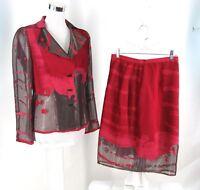 Harriet Kassman Skirt Suit Sz 8 Red Chenille Bronze Sheer Burnout Jacket Evening