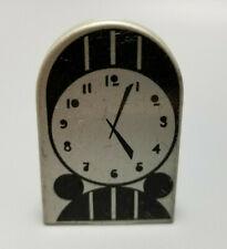 Vintage Cracker Jack Toy / Prize Tin Litho Art Deco Mantle Clock, Black & Silver