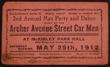 1912 Archer Avenue Street Car Men 2nd Annual Dance Ticket Archer Ave Chicag B4S1