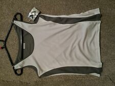 Hummel sports t shirt vest ladies cycling top S shite and gray active fitness
