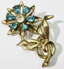 broche bijou vintage top qualité coul vieil or fleur cristal diamant bleu * 3417