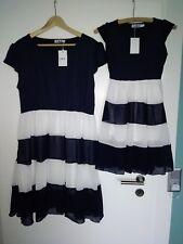 Mama❤Tochter Kleid Partnerlook Grösse 46 und 140..Blau weiß Streifen Sommer