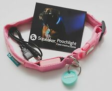 New 18 Inch Pink Poochlight Authentic Squeaker LED Dog Collar USB Rechargeable