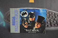 MANUEL DE EMPLOI DE BATMAN RETURS SEGA GAME GEAR