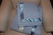 New Cotton / Linen Blend Satin Trim King Duvet Cover Set w/ King Shams Soft Blue