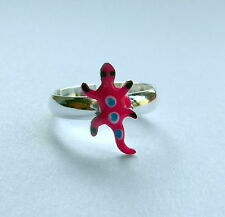 Sterling Silver 925 Adjustable Gecko Toe Ring - 3 Different Colours ! New !