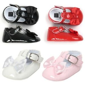 Newborn Baby Girl Princess Bow Shoes Spanish Party Soft Sole Sneakers Non-slip