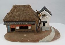 Vintage Japanese Hakata Plaster Model Edo Building Farmhouse Scene Japan
