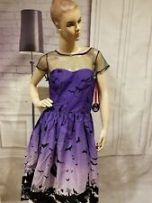 Hell Bunny Purple Halloween Haunt Gothic Retro 50's Dress Size Small Pin Up Bats