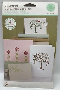 Martha Stewart Glittered Botanical Card Kit 8 Cards Envelopes Stickers Designs
