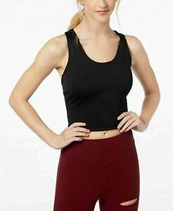 NEW Material Girl Women's Juniors Twist-Back Sports Bra Black Size Large