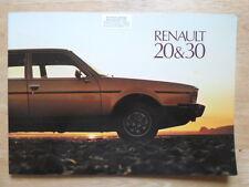 Renault 20 y 30 1977 Reino Unido MKT brillante folleto de ventas de prestigio