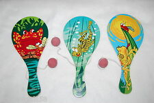 KIDS Paddle Ball Toy LOT OF THREE Stocking Stuffers PARTY FAVORS Frog Designs