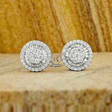 0.50Ct Round Cut Baguette Diamond Cluster Stud Earrings 14K White Gold Over