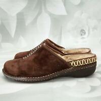UGG Womens Kohala Leather Mules Shoes Size 9M Flat Sheepskin Interior Dark Brown