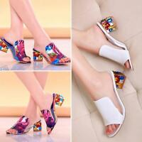 Fashion Women Lady Crystal Sandals Heeled Slippers Peep-toe Summer Casual Shoes