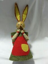"Very Cute Vintage Handmade 11 3/4"" Wood Paper Cone And Wool Rabbit With Basket"