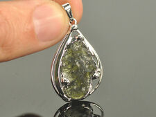 15.1ct = 3.02g Bizupend290 Moldavite copper silver plated pendant