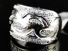 LADIES WHITE GOLD FINISH WEDDING BAND FASHION ROUND CUT DIAMOND RING 1/2 CT