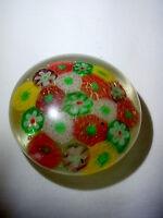 Vintage Art Glass Millefiori Multi Colored Flower Paperweight