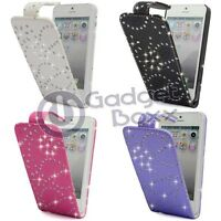 BLING DIAMANTE GLITTER GEM FLIP PU LEATHER POUCH COVER CASE FOR APPLE IPHONE 5