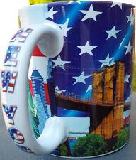 RED WHITE & BLUE FLAG NEW YORK SKY line 11 ounce COFFEE MUG statue of liberty