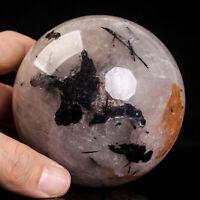 728g 81mm Large Natural Black Tourmaline Quartz Crystal Sphere Healing Ball