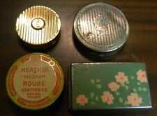 Vintage Lot of (4) Miniature Compacts / Rouges Heather, Hand Painted, Coty G-VG