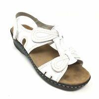 Women's Clarks Collection Strappy Sandals Shoes Size 7 W Wide White Leather R12