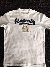 Boys Designer White Abercrombie TShirt Size S New