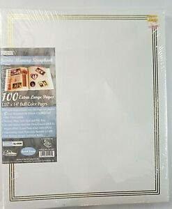 Jumbo 11.75x14 White Page Scrapbook Gold Embossed 100 Pages (50 Sheets), New