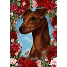 Roses House Flag - Uncropped Red Miniature Pinscher 19151