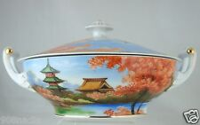 VINTAGE BOWL/LID HAND PAINTED SCENIC BLOSSOMS JAPAN GOLD RIMS FINE CHINA