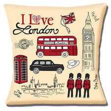"Londres iconos Big Ben teléfono Caja Autobús Rojo Negro Taxi 16 ""Almohada cojín"