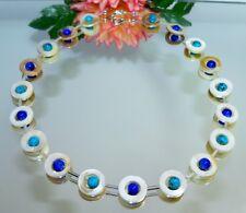 Kette HINREIßEND PERLMUTT natur weiss Donut Perlen blau dunkelblau türkis  353L
