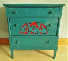Vintage Mid Century Scandinavian Painted Chest of Drawers Fretwork Panel Feature