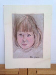 Vintage Original Female Portrait - in Pastel / Signed John Wilda 1947 - 20x30cm
