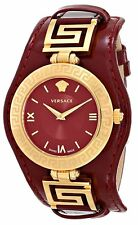 Versace Women's VLA030014 V-SIGNATURE Gold IP Coated Steel Red Leather Watch