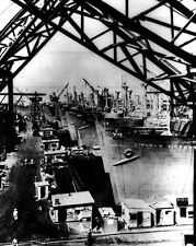 New 8x10 World War II Photo: Victory Cargo Ships Lined for Final Outfitting