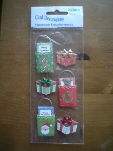 HABICO CARD DECORATIONS, NEW, CHRISTMAS, HANDMADE EMBELLISHMENTS