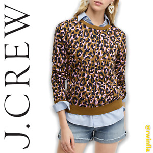 J Crew Sweater Leopard Print Crewneck Mod Bronzed NWT Size Large