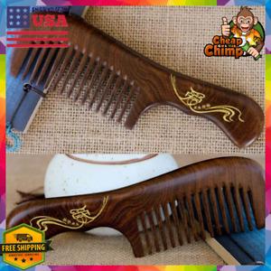 Luxury Natural Sandalwood Wood Thick Curly Hair Brush Comb Women/Men Detangling
