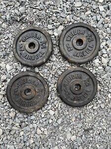 """4 Weider 5 lb Iron Weight Plates Standard 1"""" Center Pair Set"""