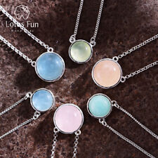 Exquisite Natural Candy Color Round Gemstone Necklace Genuine 925 Silver Jewelry