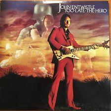 "JOHN ENTWISTLE (THE WHO) - TOO LATE THE HERO 12"" vinyl LP Australia 1981"